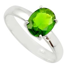 3.09cts natural green chrome diopside 925 sterling silver ring size 9 r42462