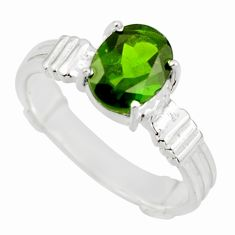3.37cts natural green chrome diopside 925 sterling silver ring size 9 r43439
