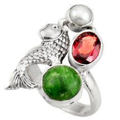 6.32cts natural green chrome diopside garnet 925 silver fish ring size 7 d46063