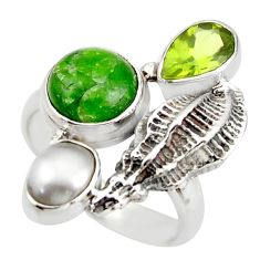 6.62cts natural green chrome diopside peridot 925 silver ring size 6.5 d46030