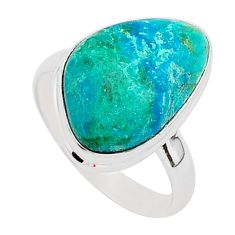 11.71cts natural green chrysocolla 925 silver solitaire ring size 9.5 r95722