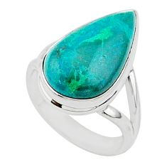 8.99cts natural green chrysocolla 925 silver solitaire ring size 6.5 r95726