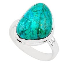10.55cts natural green chrysocolla 925 silver solitaire ring size 8 r95723