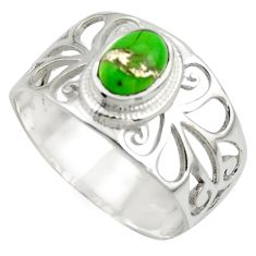 1.56cts natural green copper turquoise 925 sterling silver ring size 8.5 r41883