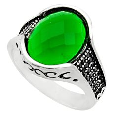 10.74cts natural green emerald (lab) topaz 925 silver mens ring size 11.5 c9796