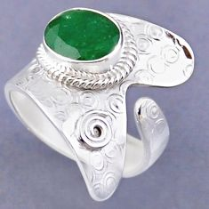 4.51cts natural green emerald 925 silver adjustable ring jewelry size 7.5 r54826