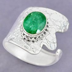 4.09cts natural green emerald 925 silver adjustable ring size 8.5 r90596