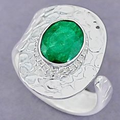 4.12cts natural green emerald 925 silver adjustable ring size 8.5 r90632