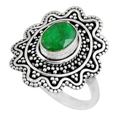 2.08cts natural green emerald 925 silver solitaire ring jewelry size 7.5 r54348