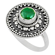 1.16cts natural green emerald 925 silver solitaire ring jewelry size 7.5 r54365