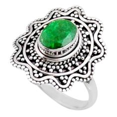 2.01cts natural green emerald 925 silver solitaire ring jewelry size 7.5 r54385