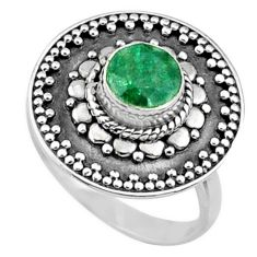 1.09cts natural green emerald 925 silver solitaire ring jewelry size 6 r65158