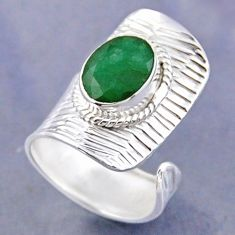 4.11cts natural green emerald 925 sterling silver adjustable ring size 6 r54768