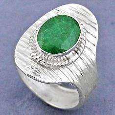 3.82cts natural green emerald 925 sterling silver adjustable ring size 7 r63333