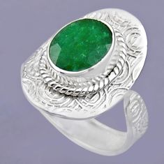 4.13cts natural green emerald 925 sterling silver adjustable ring size 8 r54702