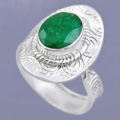4.06cts natural green emerald 925 sterling silver adjustable ring size 8 r54703