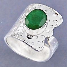 4.52cts natural green emerald 925 sterling silver adjustable ring size 8 r54823