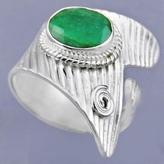 4.52cts natural green emerald 925 sterling silver adjustable ring size 8 r54891