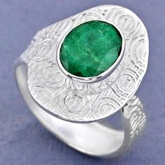 3.62cts natural green emerald 925 sterling silver adjustable ring size 8 r63314