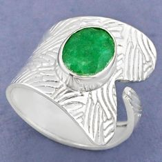 4.22cts natural green emerald 925 sterling silver adjustable ring size 8 r63353
