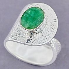 4.44cts natural green emerald 925 sterling silver adjustable ring size 8 r90578
