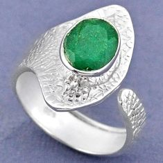 3.82cts natural green emerald 925 sterling silver adjustable ring size 9 r63313
