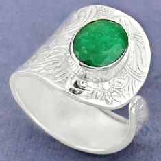 4.22cts natural green emerald 925 sterling silver adjustable ring size 9 r63395