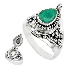 2.41cts natural green emerald 925 sterling silver poison box ring size 9 t52785