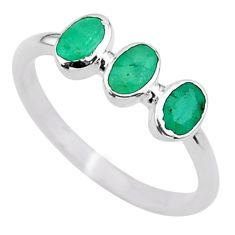 2.08cts natural green emerald 925 sterling silver solitaire ring size 7 t33049