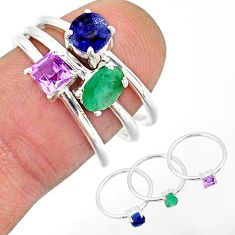 3.13cts natural green emerald amethyst sapphire 925 silver 3 rings size 7 r85162
