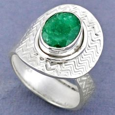 4.08cts natural green emerald oval 925 silver adjustable ring size 7.5 r63285