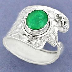 4.22cts natural green emerald oval 925 silver adjustable ring size 8.5 r63455