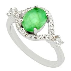 3.91cts natural green emerald oval topaz 925 sterling silver ring size 6.5 c9845