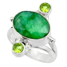 7.21cts natural green emerald peridot 925 sterling silver ring size 8 r44704