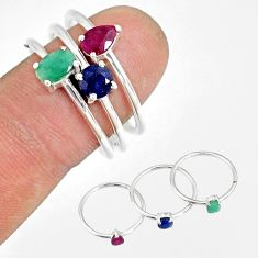 3.14cts natural green emerald ruby 925 silver stackable ring size 8.5 r79879