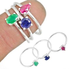 3.51cts natural green emerald ruby 925 silver stackable ring size 9.5 r79976