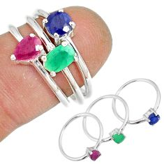 3.28cts natural green emerald ruby 925 silver stackable ring size 10 r79979