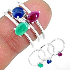 3.05cts natural green emerald ruby 925 sterling silver 3 rings size 8.5 r92404