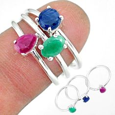 3.28cts natural green emerald ruby 925 sterling silver 3 rings size 7.5 r92426