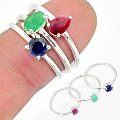 3.42cts natural green emerald ruby 925 sterling silver 3 rings size 10 r83934