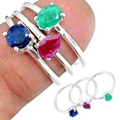 3.19cts natural green emerald ruby 925 sterling silver 3 rings size 6 r92383