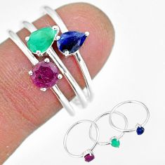 2.81cts natural green emerald ruby 925 sterling silver 3 rings size 8 r92421