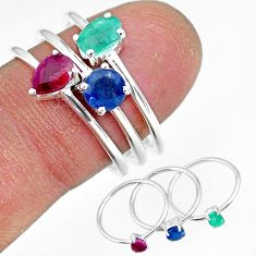 3.28cts natural green emerald ruby 925 sterling silver 3 rings size 8 r92423