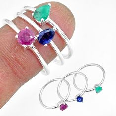 2.81cts natural green emerald ruby 925 sterling silver 3 rings size 8 r92429