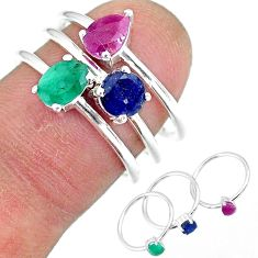 3.28cts natural green emerald ruby 925 sterling silver 3 rings size 8 r92430