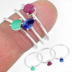 3.13cts natural green emerald ruby 925 sterling silver 3 rings size 8 r92431