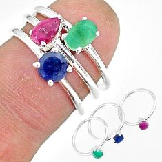 3.41cts natural green emerald ruby 925 sterling silver 3 rings size 8 r92432