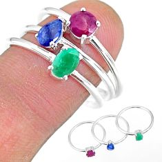 2.82cts natural green emerald ruby sapphire 925 silver 3 rings size 8 t17542