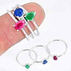 2.82cts natural green emerald ruby sapphire 925 silver 3 rings size 8 t17543