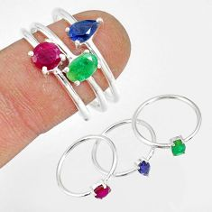 3.14cts natural green emerald ruby sapphire 925 silver 3 rings size 9 t17554